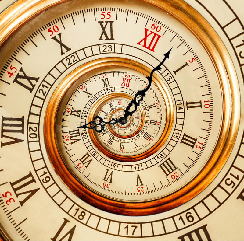 古色古香的老时钟摘要分数维螺旋 手表时钟异常的a 库存照片