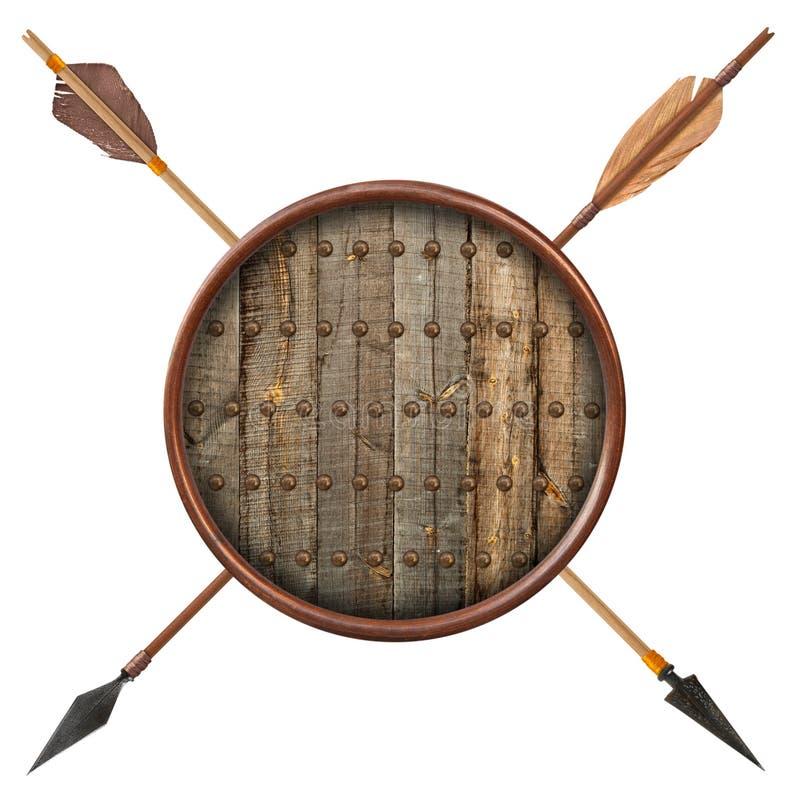 古色古香的老木被隔绝的箭头和盾 免版税库存照片