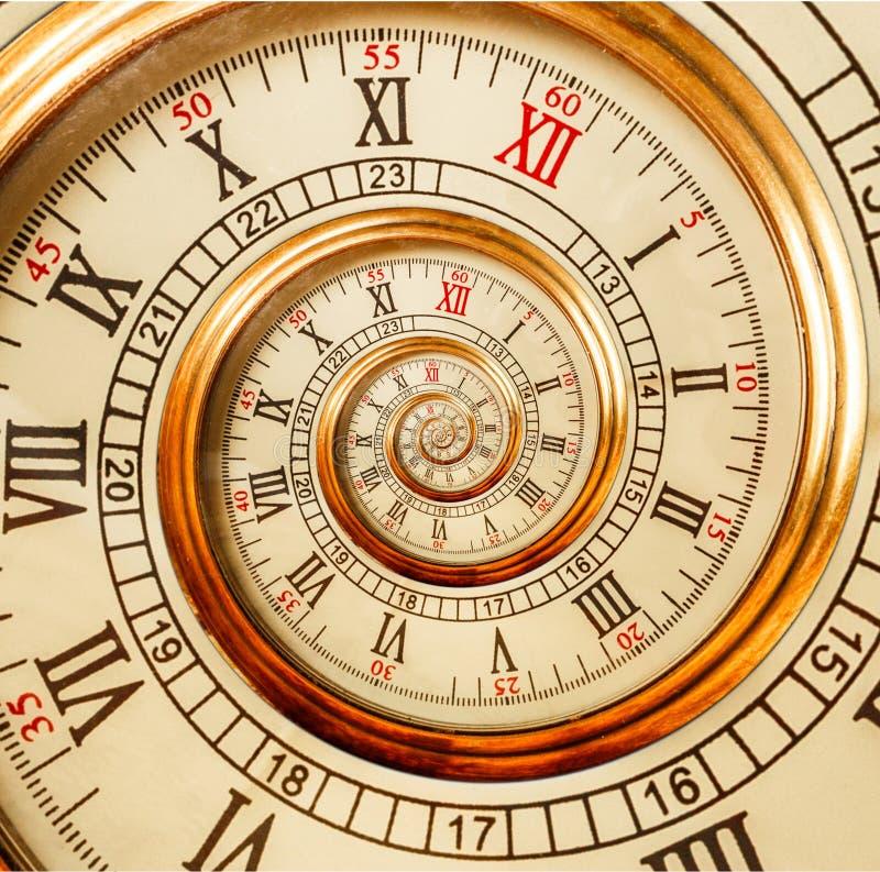 古色古香的老螺旋计时抽象分数维螺旋 观看时钟螺旋异常的纹理分数维样式背景 金黄手表 库存照片