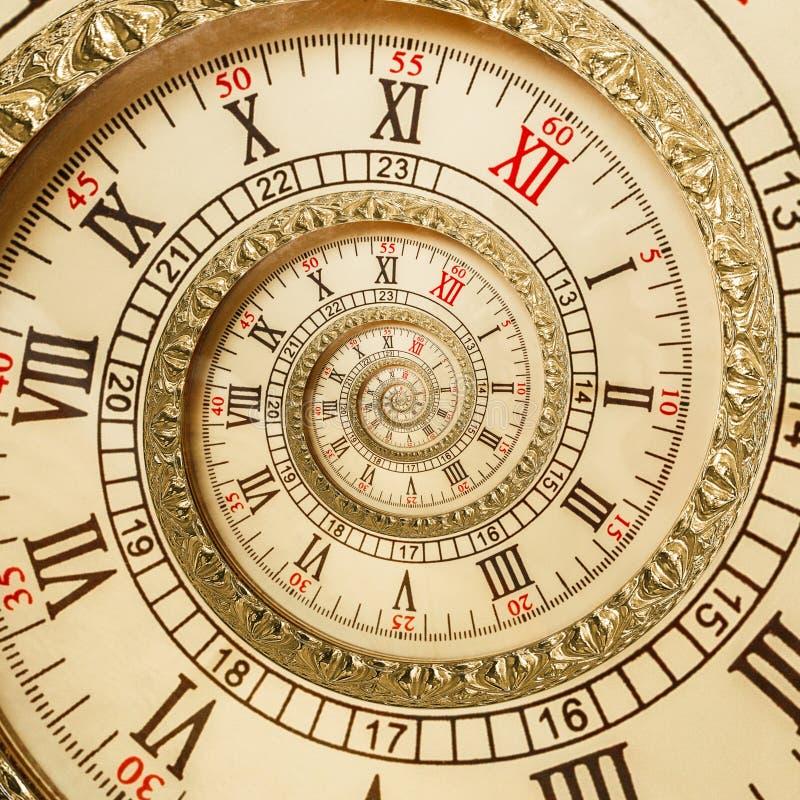 古色古香的老螺旋计时抽象分数维螺旋 观看时钟螺旋异常的纹理分数维样式背景 金黄老时钟 免版税图库摄影
