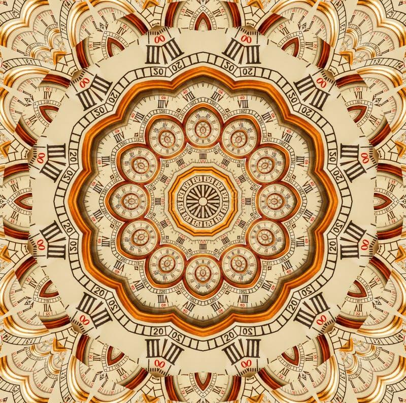 古色古香的老金黄时钟万花筒样式摘要背景 抽象超现实的时钟样式万花筒金黄手表啪答声 皇族释放例证