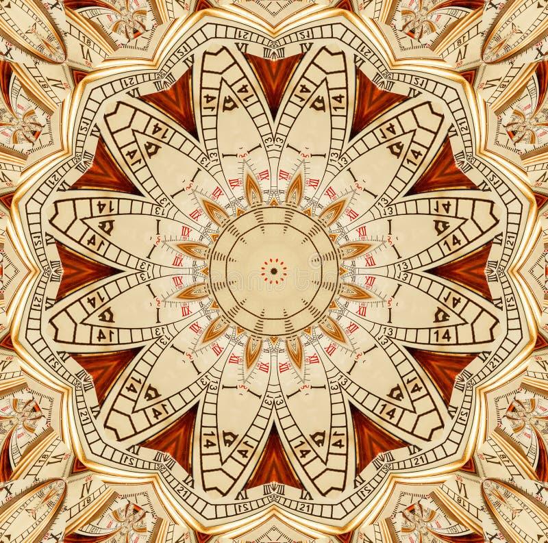 古色古香的老金黄时钟万花筒样式摘要背景 抽象超现实的时钟样式万花筒金黄手表啪答声 向量例证