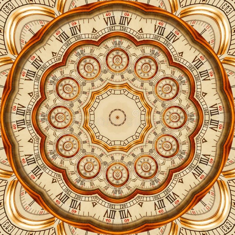 古色古香的老金黄时钟万花筒样式摘要背景 抽象超现实的时钟样式万花筒金黄手表啪答声 库存例证