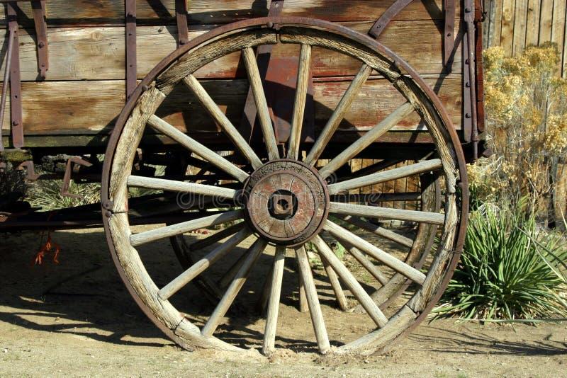 古色古香的老马车车轮 库存照片