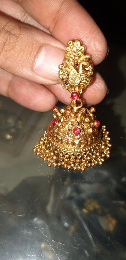 古色古香的耳环jhumka印度样式 免版税图库摄影