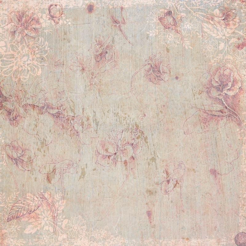 古色古香的背景花卉主题葡萄酒 库存例证
