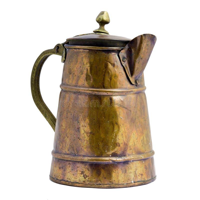 古色古香的背景铜瓶子白色 免版税库存图片