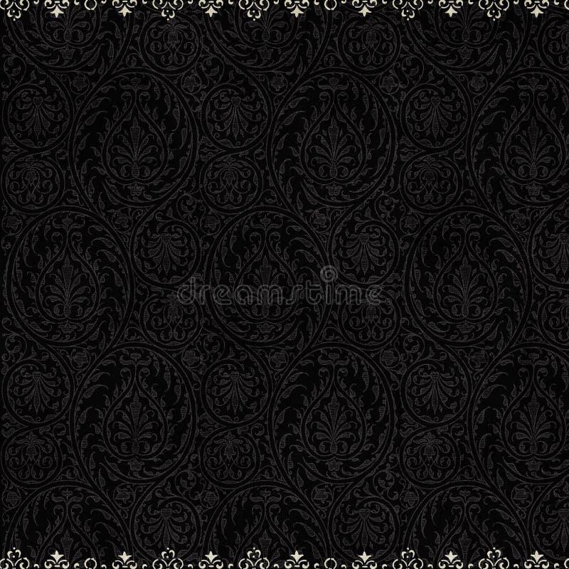 古色古香的背景黑色锦缎葡萄酒 库存例证