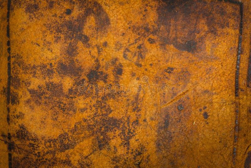 古色古香的背景黑暗皮革老 了不起的纹理细节 免版税库存图片