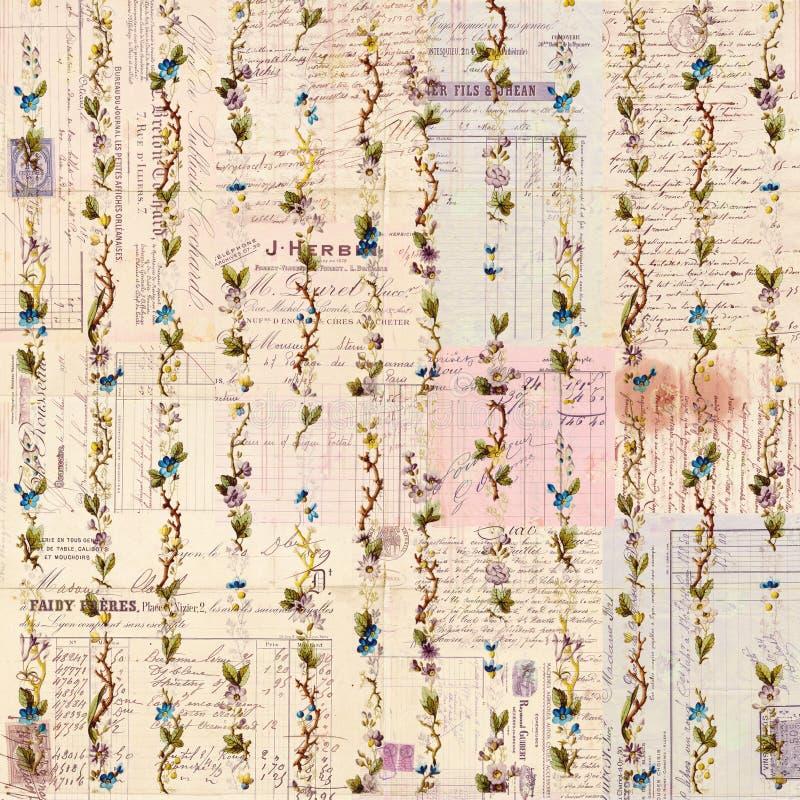 古色古香的脏的剧本和花卉背景 库存照片