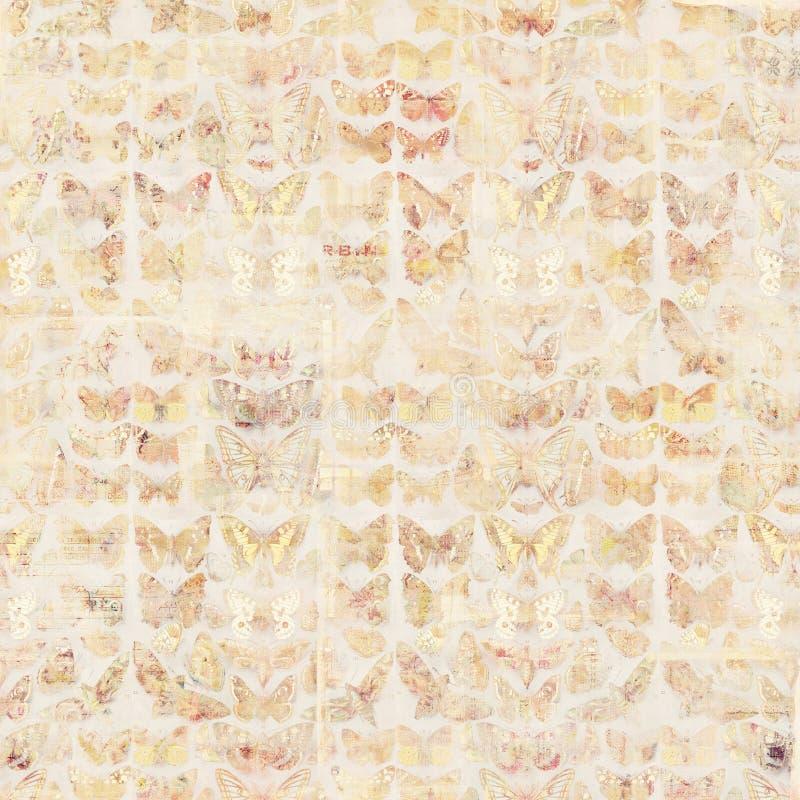 古色古香的脏的在木头的葡萄酒样式植物的蝴蝶背景 向量例证