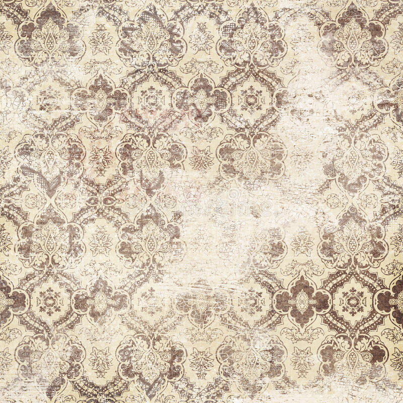 古色古香的脏的锦缎墙纸 免版税库存照片