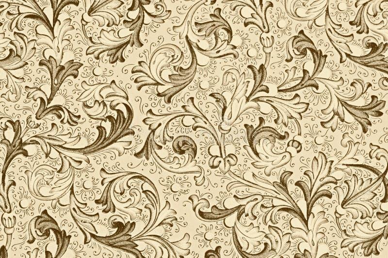 古色古香的花卉模式墙纸 库存例证