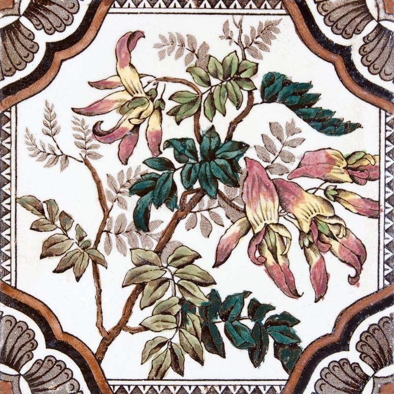古色古香的花卉瓦片维多利亚女王时代的著名人物 库存例证