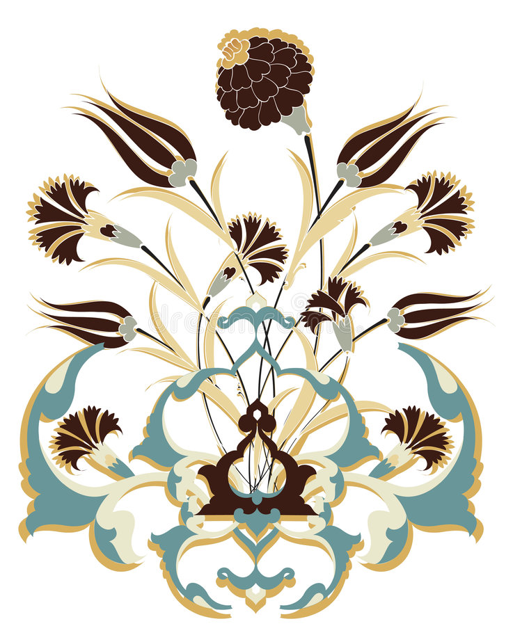 古色古香的花束设计无背长椅 向量例证