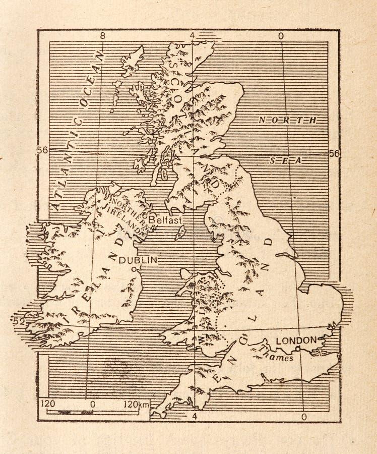 古色古香的英国映射 免版税库存图片