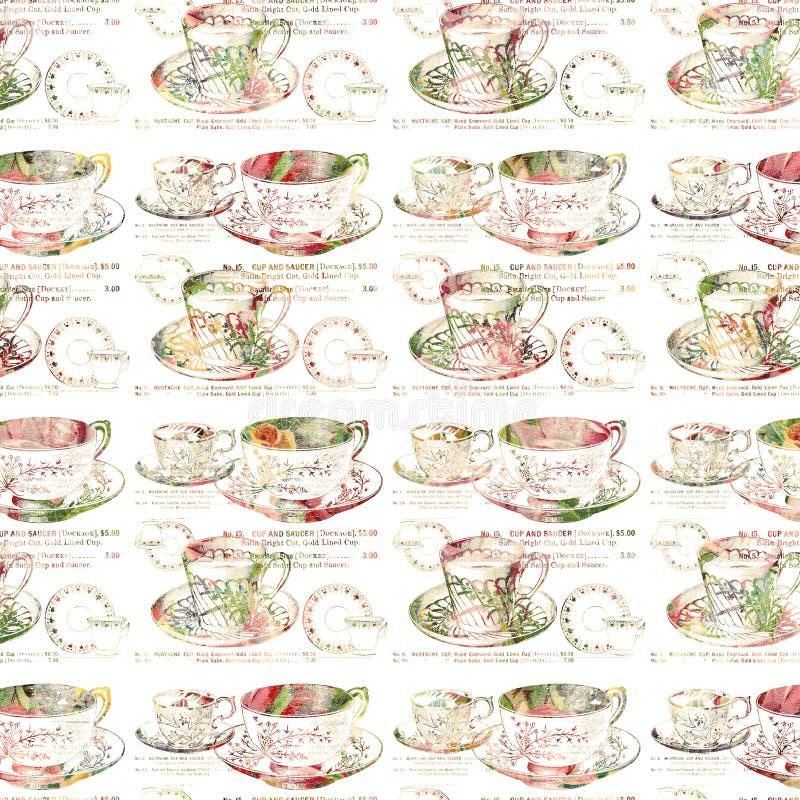 古色古香的茶杯重复无缝的样式 皇族释放例证