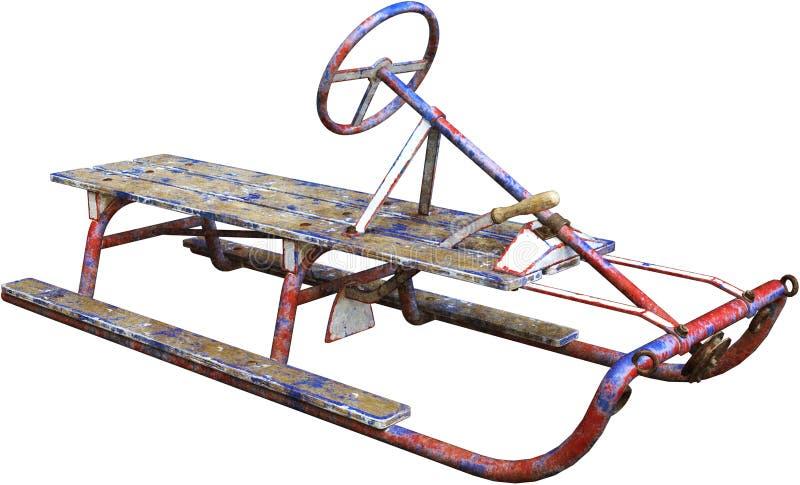 古色古香的葡萄酒雪雪撬隔绝了,冬天玩具 免版税库存图片