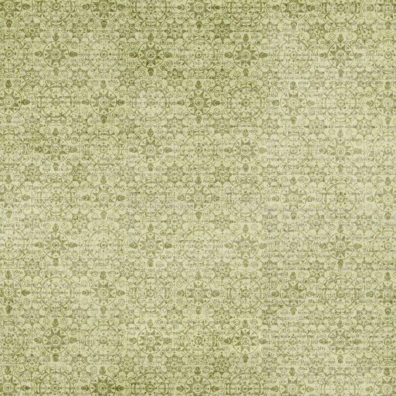 古色古香的葡萄酒绿色雪花样式样式Chri 向量例证