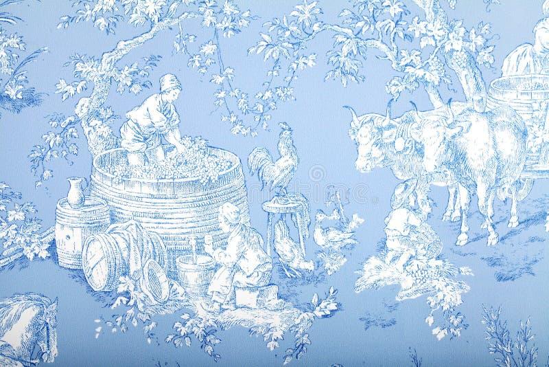 古色古香的蓝色和白色法国巴洛克式的样式墙纸描述 免版税图库摄影