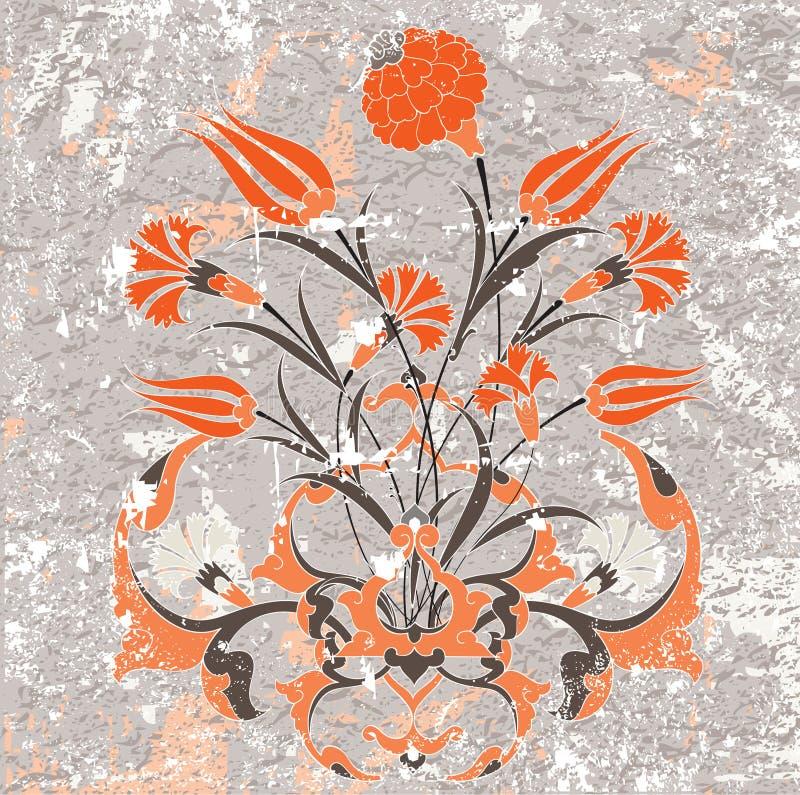 古色古香的设计脏的无背长椅墙纸 向量例证