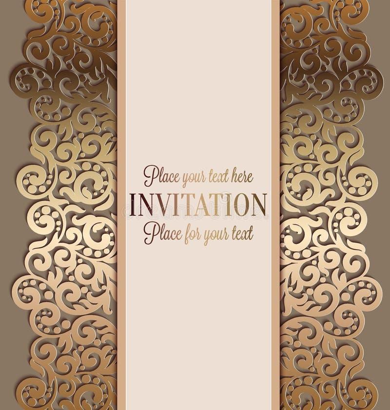 古色古香的豪华婚礼邀请,在灰棕色的金子 皇族释放例证