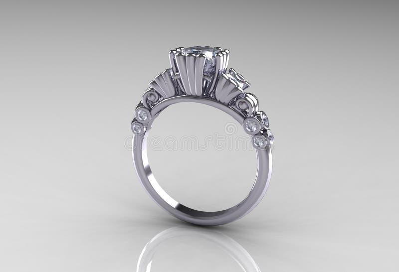 古色古香的金刚石订婚现代白金环形 库存例证