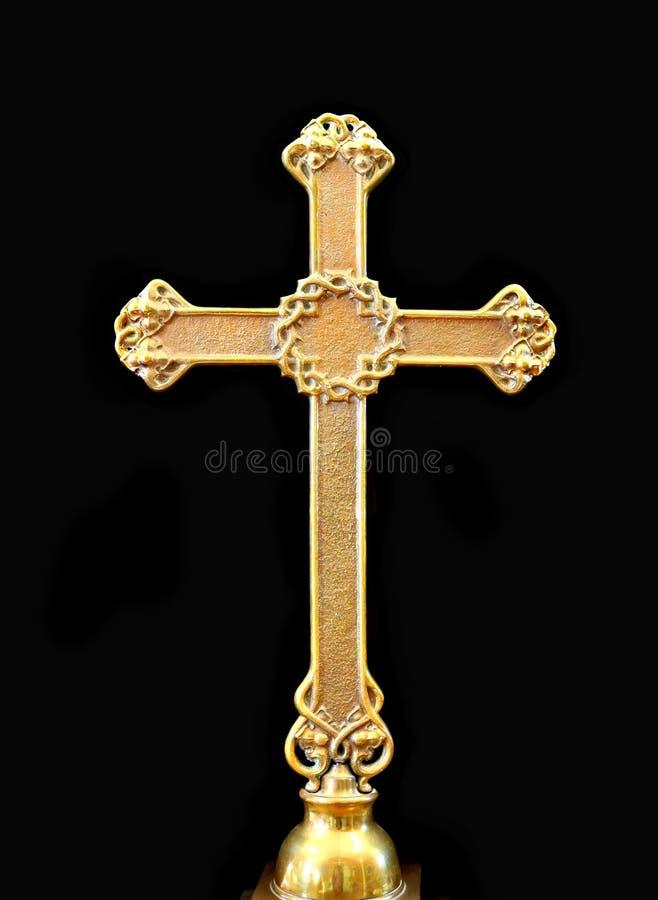 古色古香的金金属十字架 免版税图库摄影