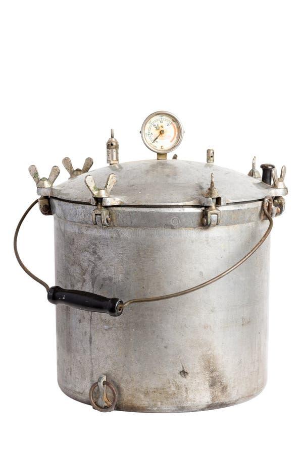 古色古香的铝压力锅/压力罐头制造商 免版税图库摄影