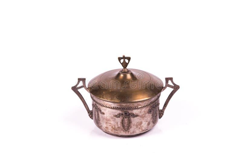 古色古香的银色甜点箱子 免版税库存照片