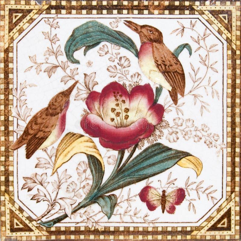 古色古香的鸟设计瓦片维多利亚女王时代的著名人物 免版税库存照片
