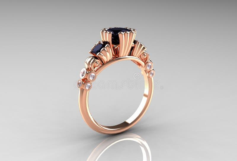 古色古香的黑金刚石订婚金戒指上升了 向量例证