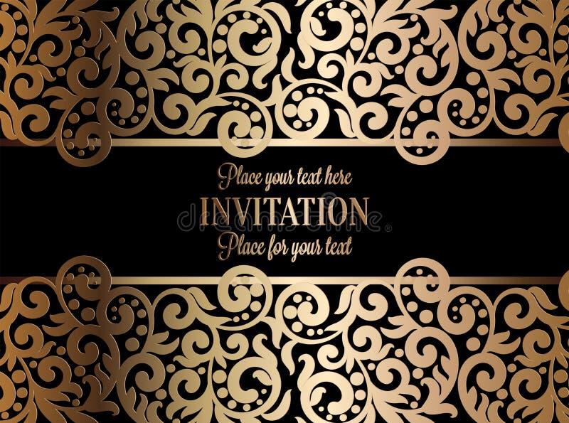 古色古香的巴洛克式的婚礼邀请,在黑色的金子 库存例证