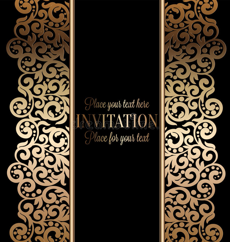 古色古香的巴洛克式的婚礼邀请,在黑色的金子 向量例证
