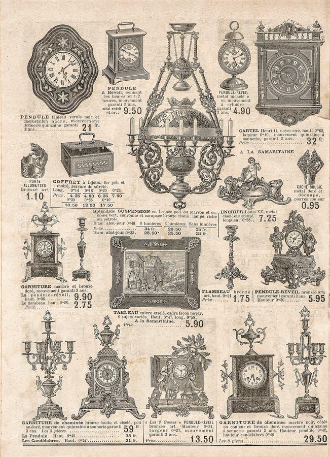 古色古香的维多利亚女王时代的对象和collectibles 老报纸 减速火箭 免版税库存图片