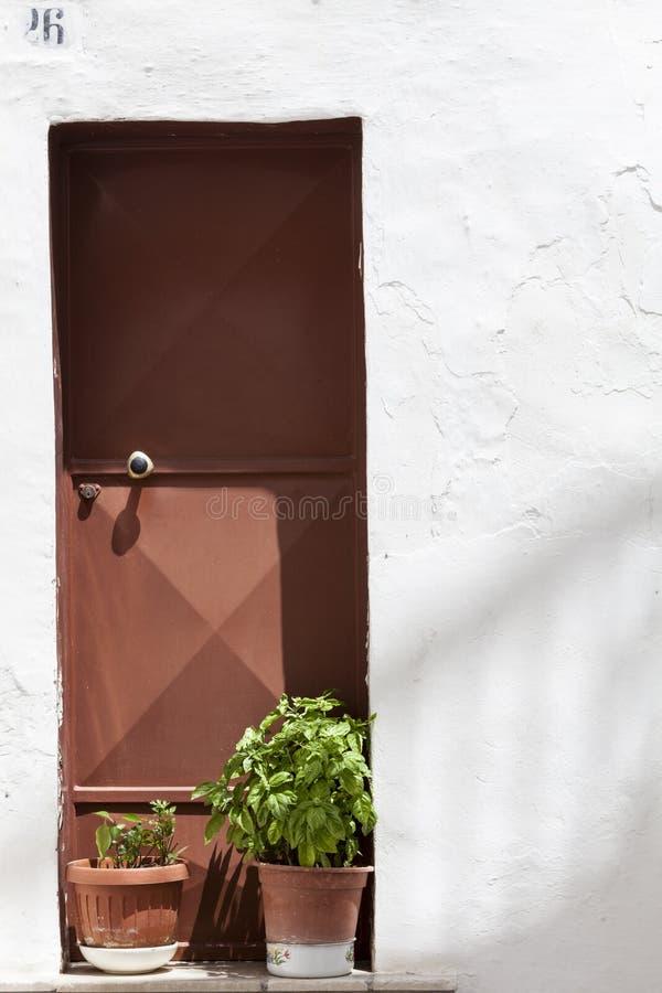 古色古香的锻铁门,前面的两棵盆的植物 围住白色 免版税库存图片