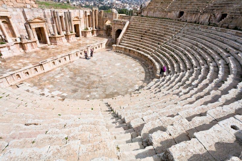 古色古香的jerash大南剧院城镇 免版税库存照片
