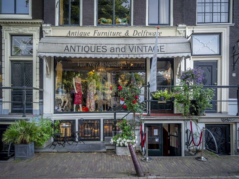 古董和葡萄酒商店前面,阿姆斯特丹 库存照片