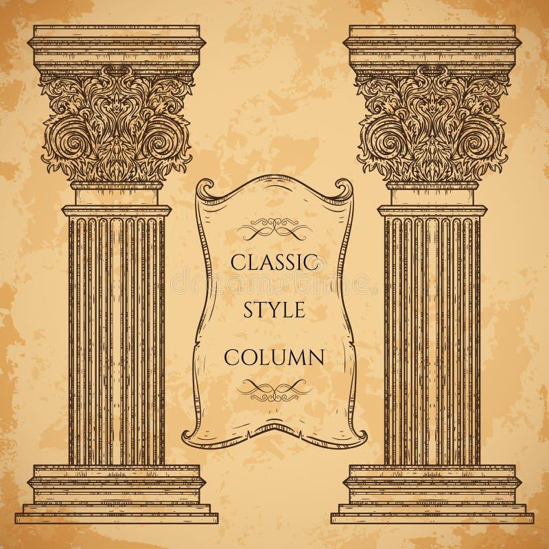 古董和巴洛克式的经典样式专栏和丝带横幅传染媒介集合 葡萄酒建筑详细设计元素 向量例证