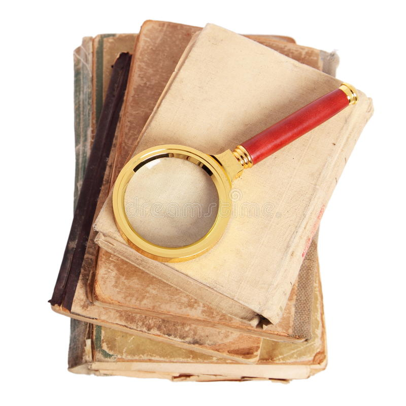 古董登记金子扩大化 免版税库存图片