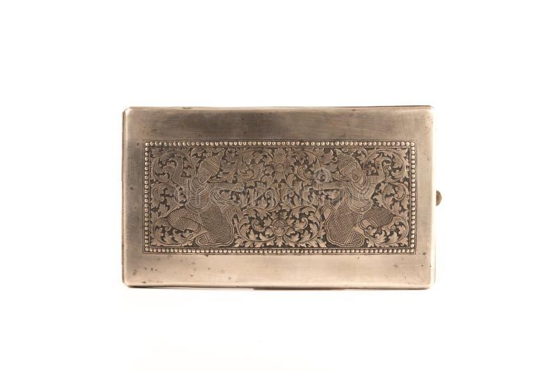 古董被刻记的银色烟盒 库存图片