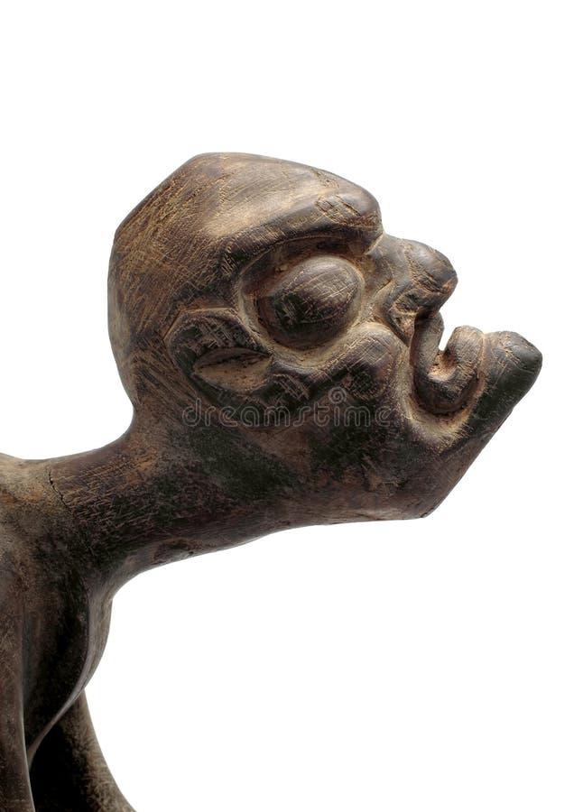 古董被雕刻的图男木头 免版税库存照片