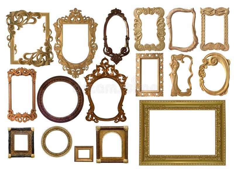 古董被雕刻的收集框架 免版税库存照片