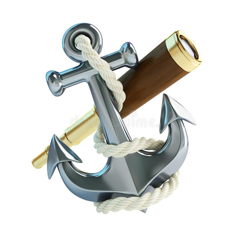 古金色小望远镜和船锚在一个白色背景3D例证,3D翻译 皇族释放例证