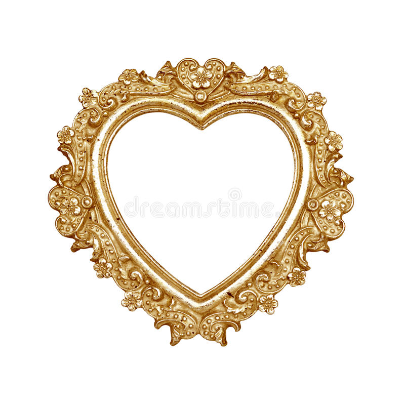 古金色心脏画框 免版税库存图片