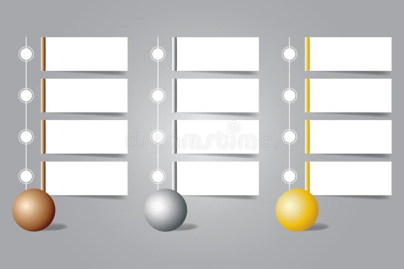 古铜、银和金球Infographic与空白的标签的 向量例证