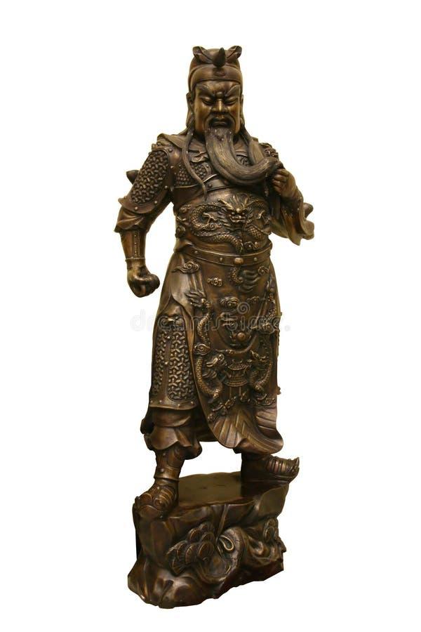 古铜色中国雕象战士 图库摄影