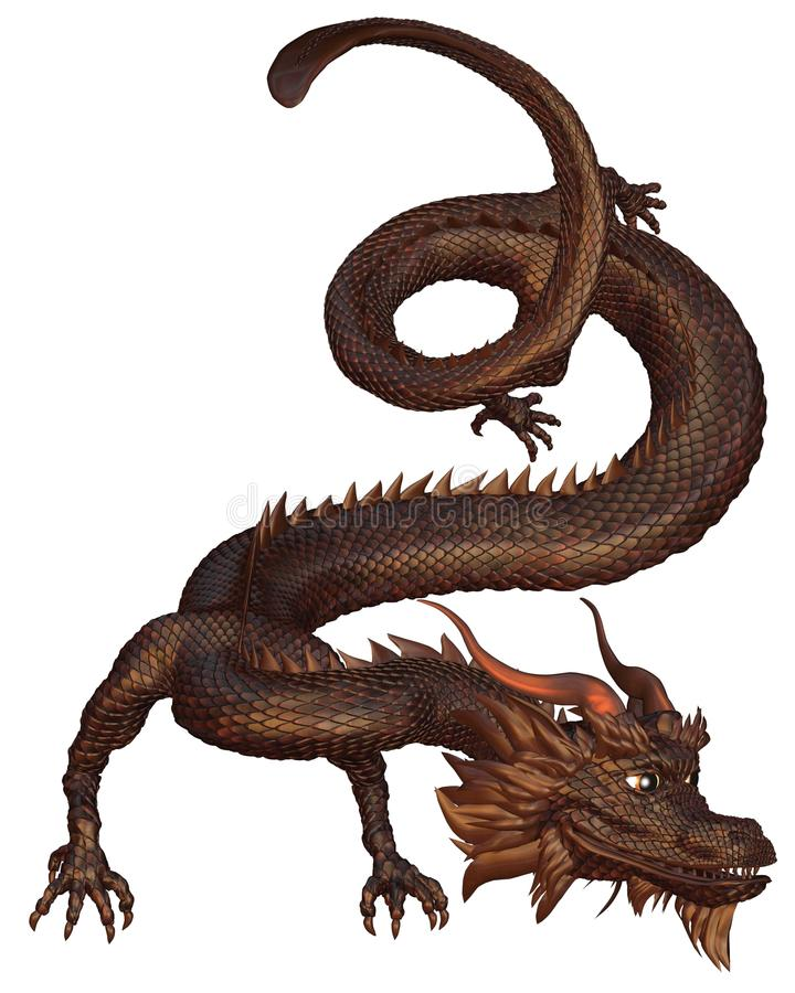 古铜色中国龙 皇族释放例证