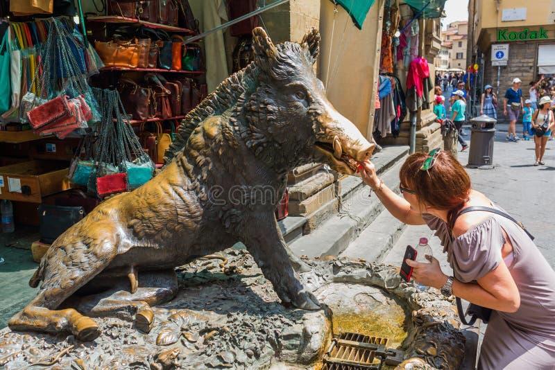 古铜色喷泉Il Procellino在佛罗伦萨,意大利 图库摄影
