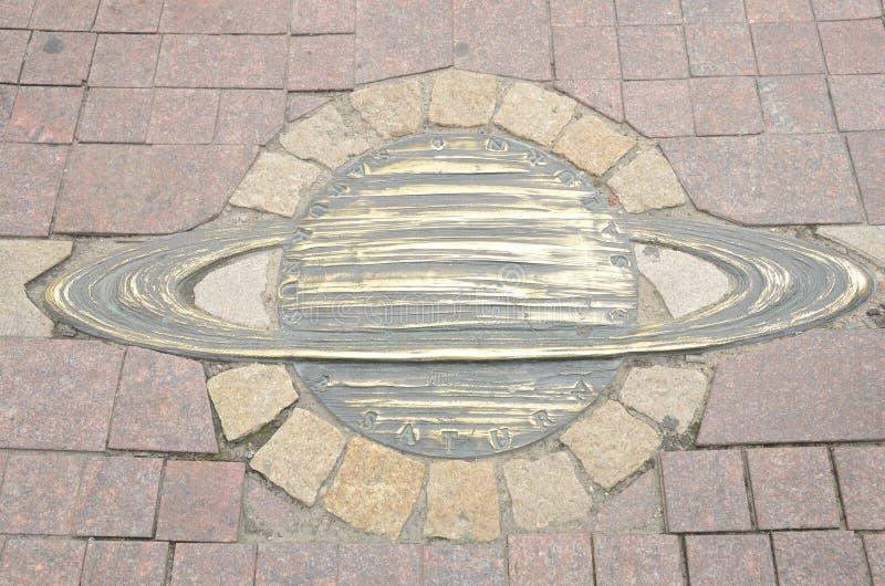 古铜色土星行星 图库摄影